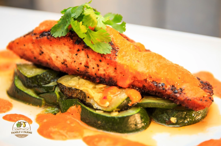 Blackened Salmon with Truffle and Roasted Red Pepper Sauce
